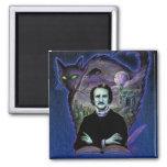 Edgar Allan Poe gótico Imán Cuadrado
