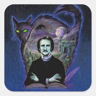 Edgar Allan Poe gótico Pegatina Cuadrada