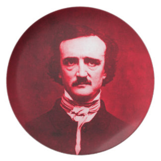 Edgar Allan Poe in Red Dinner Plate