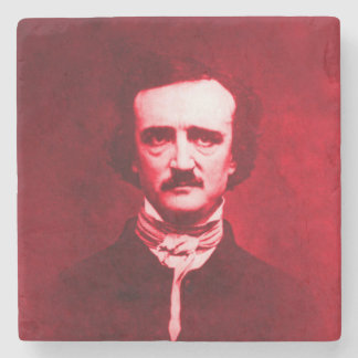 Edgar Allan Poe in Red Stone Beverage Coaster