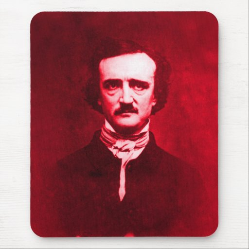 Edgar Allan Poe in Red Mouse Pad