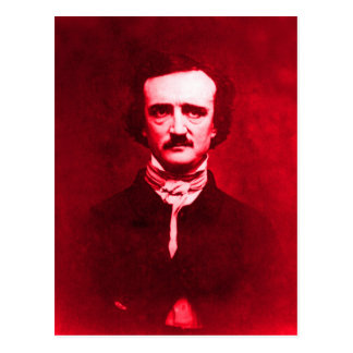 Edgar Allan Poe in Red Postcard