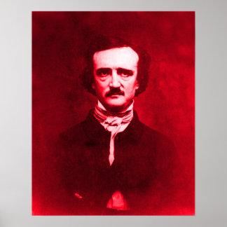Edgar Allan Poe in Red Poster