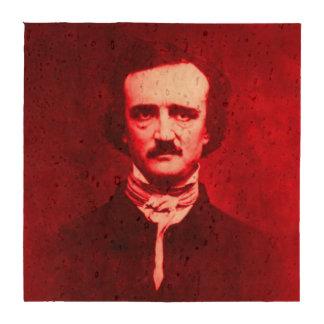 Edgar Allan Poe in Red Beverage Coasters