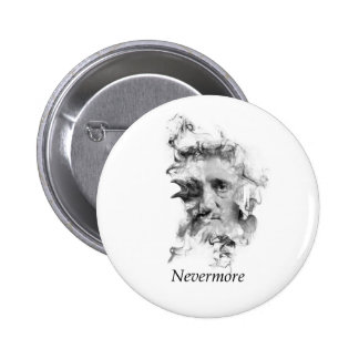 Edgar Allan Poe in Smoke with Raven - Nevermore Pinback Button