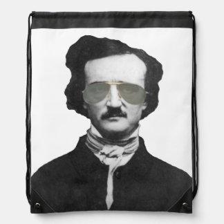 Edgar Allan Poe in Sunglasses Drawstring Backpack