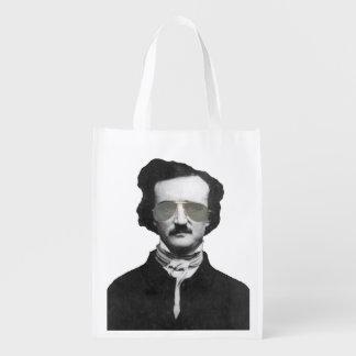 Edgar Allan Poe in Sunglasses Grocery Bag