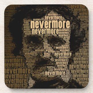 Edgar Allan Poe - Nevermore Typography Beverage Coaster