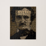 """Edgar Allan Poe - Nevermore Typography Jigsaw Puzzle<br><div class=""""desc"""">Cool typography design featuring the word &#39;nevermore&#39; used to create a photo of Edgar Allan Poe.</div>"""