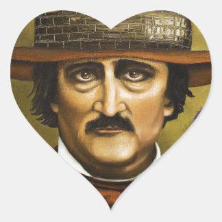 Edgar Allan Poe Calcomanías Corazones