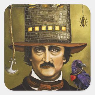 Edgar Allan Poe Pegatina Cuadrada