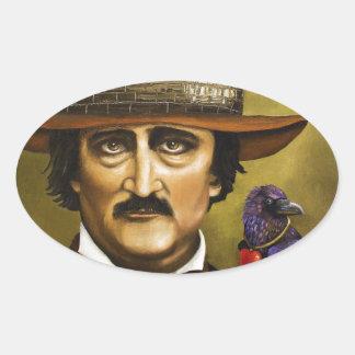 Edgar Allan Poe Pegatina Ovalada