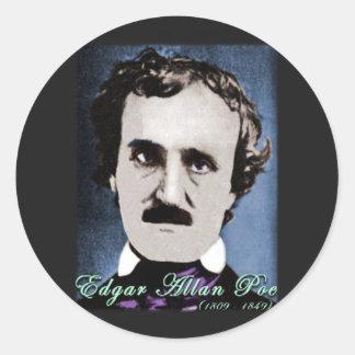Edgar Allan Poe Pegatina Redonda