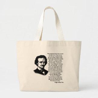 Edgar Allan Poe Poem ALONE Large Tote Bag