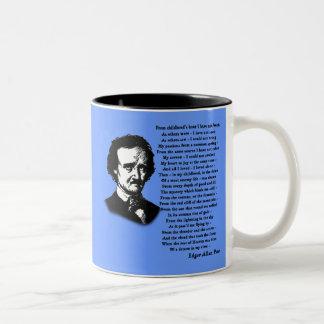 Edgar Allan Poe Poem ALONE Two-Tone Coffee Mug