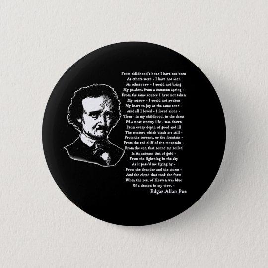 Edgar Allan Poe Poem ALONE Pinback Button