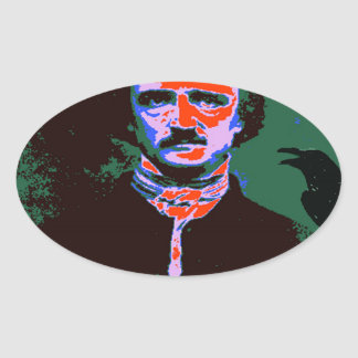 Edgar Allan Poe Pop Art 1 Oval Sticker
