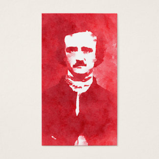 Edgar Allan Poe Pop Art Portrait in red Business Card