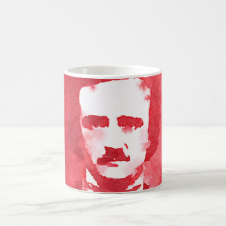 Edgar Allan Poe Pop Art Portrait in red Classic White Coffee Mug