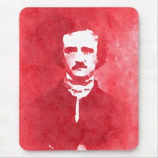 Edgar Allan Poe Pop Art Portrait in red Mouse Pad