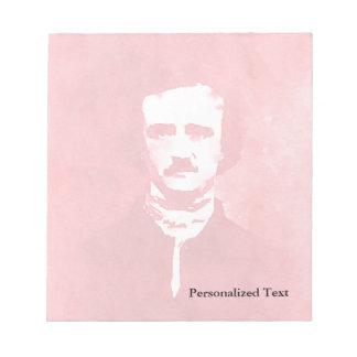 Edgar Allan Poe Pop Art Portrait in red Notepad