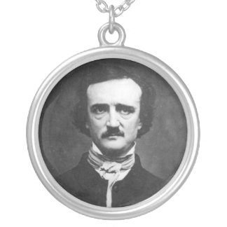 Edgar Allan Poe Portrait Silver Plated Necklace