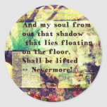 Edgar Allan Poe Quote Nevermore Classic Round Sticker