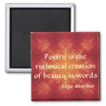 Edgar Allan Poe quote on Poetry 2 Inch Square Magnet