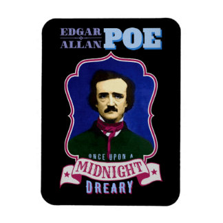 Edgar Allan Poe Raven Quote and Portrait Rectangular Photo Magnet