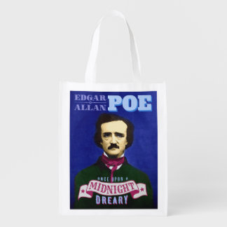 Edgar Allan Poe Raven Quote and Portrait Reusable Grocery Bags