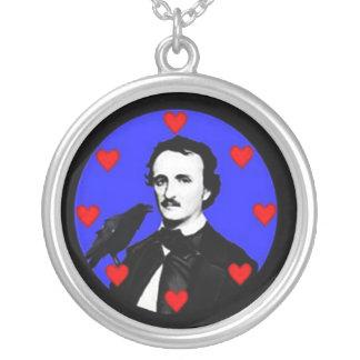 Edgar Allan Poe & Raven Round Pendant Necklace