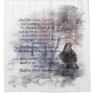 Edgar Allan Poe The Raven Poem Raven Watercolor Shower Curtain
