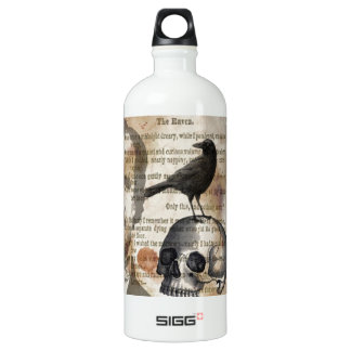 Edgar Allan Poe The Raven Skull and BIrd Aluminum Water Bottle