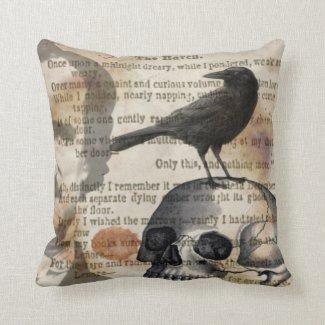Edgar Allan Poe The Raven & Skull Pillow