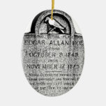 Edgar Allan Poe Tombstone. Creepy Halloween Images Double-Sided Oval Ceramic Christmas Ornament
