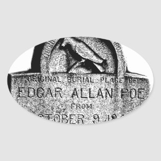 Edgar Allan Poe Tombstone. Creepy Halloween Images Oval Sticker