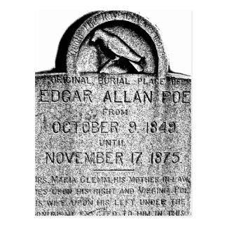 Edgar Allan Poe Tombstone. Creepy Halloween Images Postcard