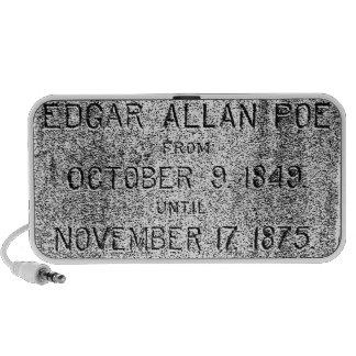 Edgar Allan Poe Tombstone. Creepy Halloween Images Notebook Speakers