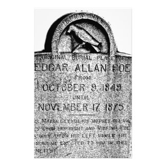 Edgar Allan Poe Tombstone. Creepy Halloween Images Customized Stationery