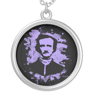 Edgar Allan Poe tributes (violet) Silver Plated Necklace