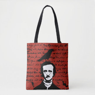 Edgar Allan Poe with Black Raven on Red Tote Bag