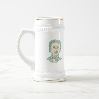 Edgar Allan Poe Writer Drawing Beer Stein