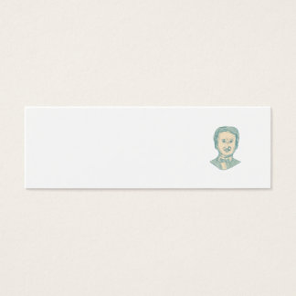 Edgar Allan Poe Writer Drawing Mini Business Card