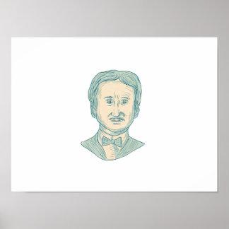 Edgar Allan Poe Writer Drawing Poster