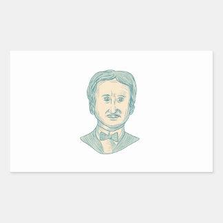 Edgar Allan Poe Writer Drawing Rectangular Sticker