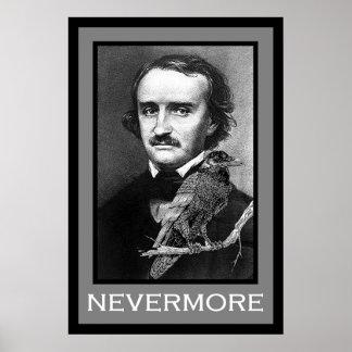 Edgar Allan Poe y cuervo Póster