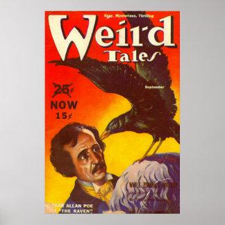Edgar Allan Poe y portada de revista de la pulpa d Póster