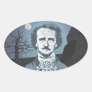 Edgar Allan Poe's Nevermore Pegatina Ovalada
