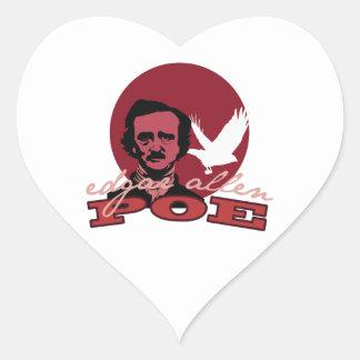 Edgar Allen Poe 2 Pegatina Corazón Personalizadas