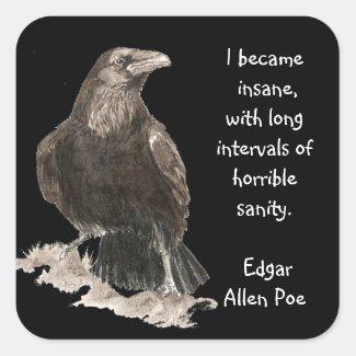 Edgar Allen Poe Insanity Quote Watercolor Raven